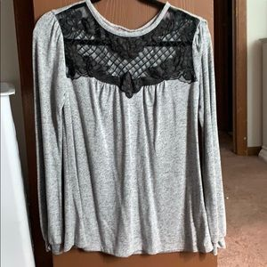 Maurice's Gray Long Sleeve with lace accents
